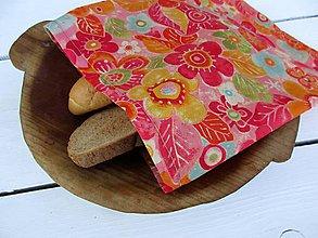 Úžitkový textil - voskované vrecko -stredné kvety - 10850947_