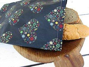 Úžitkový textil - voskované vrecko-Folk v čiernej - 10850959_