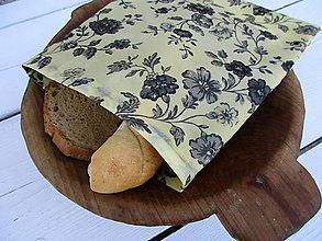 Úžitkový textil - desiatové voskované vrecko-čierna ruža - 10850977_
