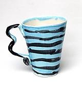 Nádoby - šálka XXL modro čierno pásikavá - 10850467_