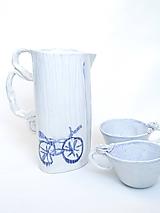 Nádoby - čajník, krčah  modrý bicykel - 10850544_