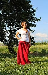 Sukne - Maxi - červená ľanová Skladom - 10851099_