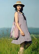 Šaty - Šaty lněné s volánem - Lila - 10850911_