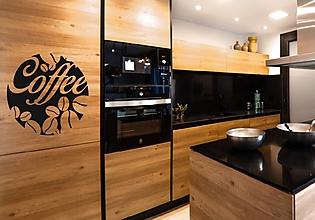 Dekorácie - Kuchynské nálepky na stenu - Kávové zrná (Azúrovo modrá) - 10849661_