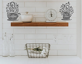 Dekorácie - Kuchynské nálepky na stenu - Čas na kávu a čaj (Žltá) - 10850368_