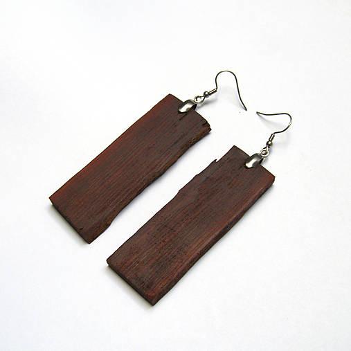 Drevené náušnice visiace - borovicová kôra