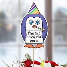 Dekorácie - Tučniak - zápich na tortu (novoročný s ľubovoľným nápisom) - 10849232_