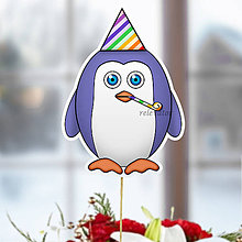 Dekorácie - Tučniak - zápich na tortu (oslavujúci) - 10849233_
