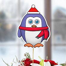 Dekorácie - Tučniak - zápich na tortu (vianočný) - 10849234_