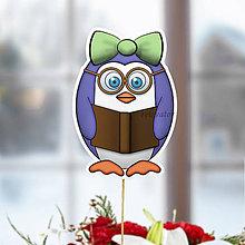 Dekorácie - Tučniak - zápich na tortu (knihomoľka) - 10849235_