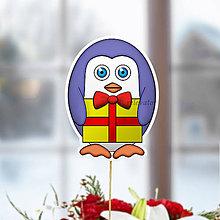 Dekorácie - Tučniak - zápich na tortu (on s darčekom) - 10849237_