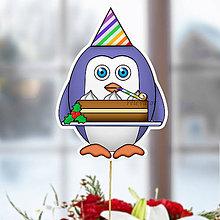 Dekorácie - Tučniak - zápich na tortu (on a vianočná torta) - 10849238_