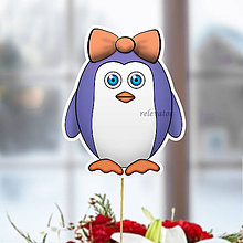 Dekorácie - Tučniak - zápich na tortu (ona (mašlička)) - 10849239_