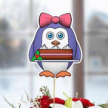 Dekorácie - Tučniak - zápich na tortu (ona a vianočná torta) - 10849240_