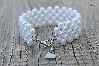 Náramky - náramok z bielych perličiek - 10852705_