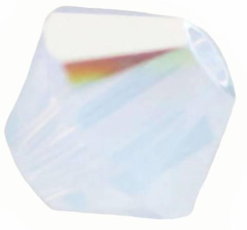 Brusena sklenena koralka / BICONE 4mm (Biela)
