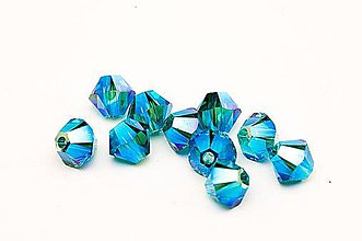Korálky - Brusena sklenena koralka / BICONE 4mm (Modrá) - 10851583_