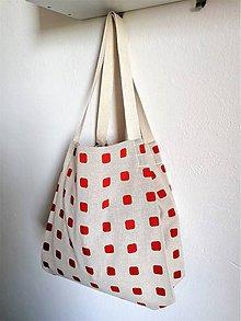 Veľké tašky - Veľká letná taška z režnej latky s červenými kockami - 10851607_
