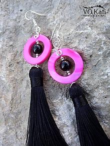 Náušnice - Nicole - perleť, ónyx - 10852587_