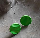 Náušnice - napichovačky vlnky v zelenej - 10851990_