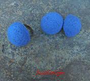 Náušnice - retro plstené napichovačky vypuklé 30mm / nebíčkové - 10852139_