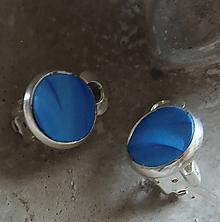 Náušnice - klipsne vlnky modré - 10851705_