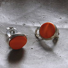 Náušnice - klipsy vlnky v oranžovej - 10851815_