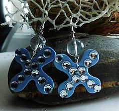 Náušnice - farebné motyliky (Modrá) - 10852075_