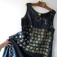 Šaty - ROZSYPANÉ KOSTIČKY - šaty lněné modrotiskové - 10851649_