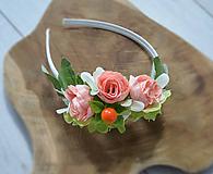 Ozdoby do vlasov - Kvetinová čelenka - marhuľová - 10852598_