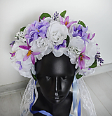 Ozdoby do vlasov - Folklórna kvetinová parta - fialová - 10852698_