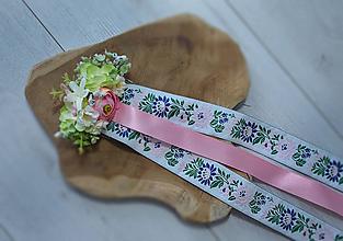 Ozdoby do vlasov - Folklórny hrebienok so stuhami - ružový - 10852569_