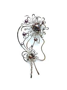 """Odznaky/Brošne - Brošňa / náhrdelník / 2v1 """"Soumračná"""" kolekce """"Mademoiselle"""", perly - 10852541_"""
