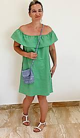 Kabelky - Mini kabelka bavlnená modrá - 10852824_