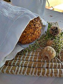Úžitkový textil - Ľanové vrecko na chlieb - 10851570_