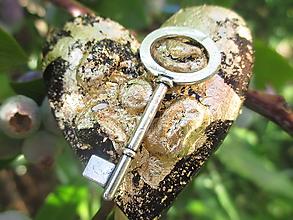 Magnetky - srdce s kľúčikom - 10852663_