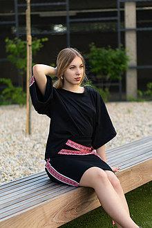 Tričká - Boxy tričko FOLK čierne - 10851457_
