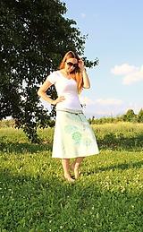 Sukne - Ľanová mint - maľovaná SKLADOM - 10852767_