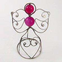 Dekorácie - Pidi cínovaný anjelik (Achát ružový) - 10855150_