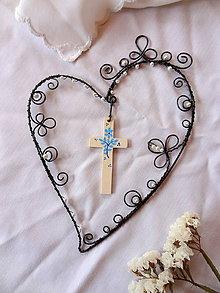 Dekorácie - Viera, láska, nádej .....folk (drevený maľovaný krížik) - 10853869_