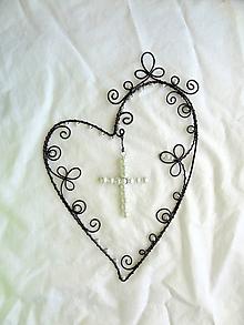 Dekorácie - Viera, láska, nádej .....folk (krížik z perličiek) - 10853912_
