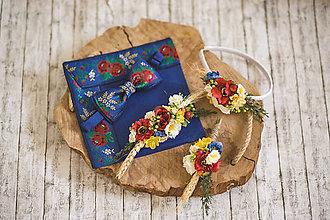 Doplnky - Vianočná akcia: Modrý folk motýlik - 10853477_