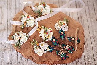 Náramky - Folk kvetinový náramok pre družičky - verzia biela - 10853557_