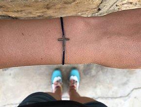 Náramky - Náramok s krížikom (Modrá) - 10853890_