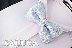 Doplnky - Svadobný modrý motýlik - vzorovaný - luxusný - 10854759_