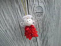 Drobunký roztomilý anjelik ♥️ (červený s bielymi bodkami)