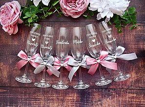 Nádoby - Svadobné poháre rodinný set- staroružová so sivou - 10853642_