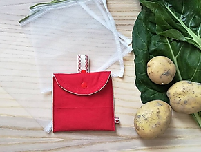 Úžitkový textil - Súprava vrecúšok na nákup zeleniny - juicy red (Červená s prírodným uškom) - 10855104_
