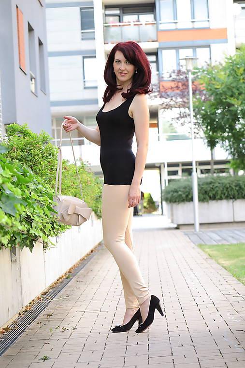 Nohavice - Legíny bambusové bežové - 10854133_