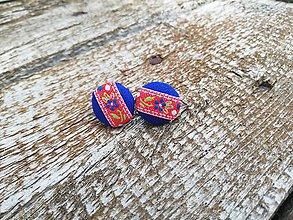 Náušnice - Napichovacie náušnice/ buttonky- Modrý folk - 10853979_